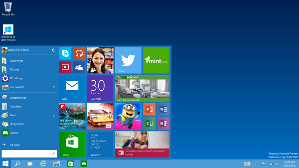 Windows10 startmenu