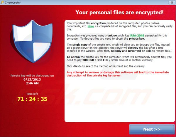 cryptolocker virusmelding